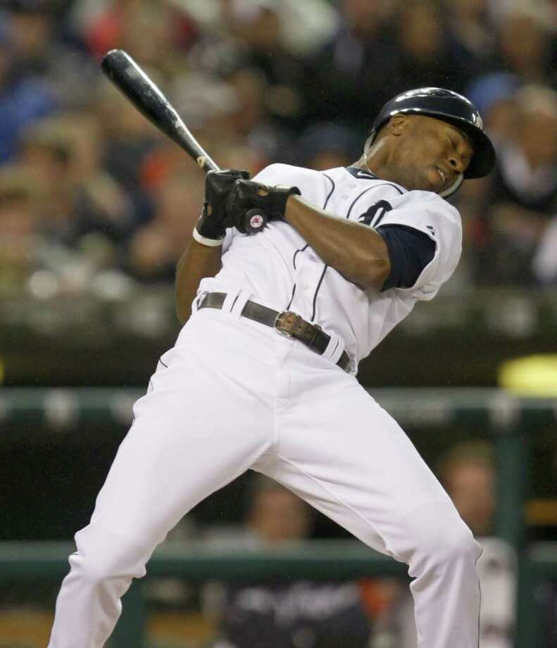 Detroit Tigers Austin Jackson backs off from an inside pitch against the Texas Rangers during first-inning action in Game 4 of the American League Championship Series at Comerica Park in Detroit, Michigan, Wednesday, October 12, 2011. (Kirthmon F. Dozier/Detroit Free Press/MCT) Photo: KIRTHMON  F. DOZIER, McClatchy-Tribune News Service / Detroit Free Press