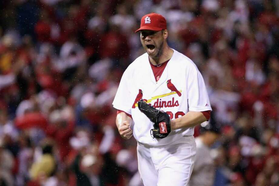ST LOUIS, MO - OCTOBER 12:  Chris Carpenter #29 of the St. Louis Cardinals reacts after he struck out Rickie Weeks #23 of the Milwaukee Brewers to end the top of the fifth inning during Game Three of the National League Championship Series at Busch Stadium on October 12, 2011 in St Louis, Missouri. Photo: Christian Petersen, Getty / 2011 Getty Images