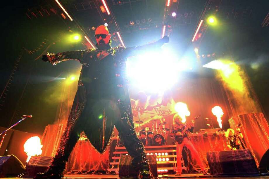 Judas Priest lead singer Rob Halford strikes a pose during the band's concert at the AT&T Center on Wednesday, Oct. 12, 2011. Kin Man Hui/kmhui@express-news.net Photo: --