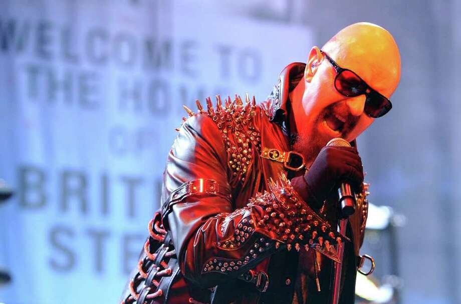 Judas Priest lead singer Rob Halford performs during the heavy metal band's concert at the AT&T Center on Wednesday, Oct. 12, 2011. Kin Man Hui/kmhui@express-news.net Photo: --