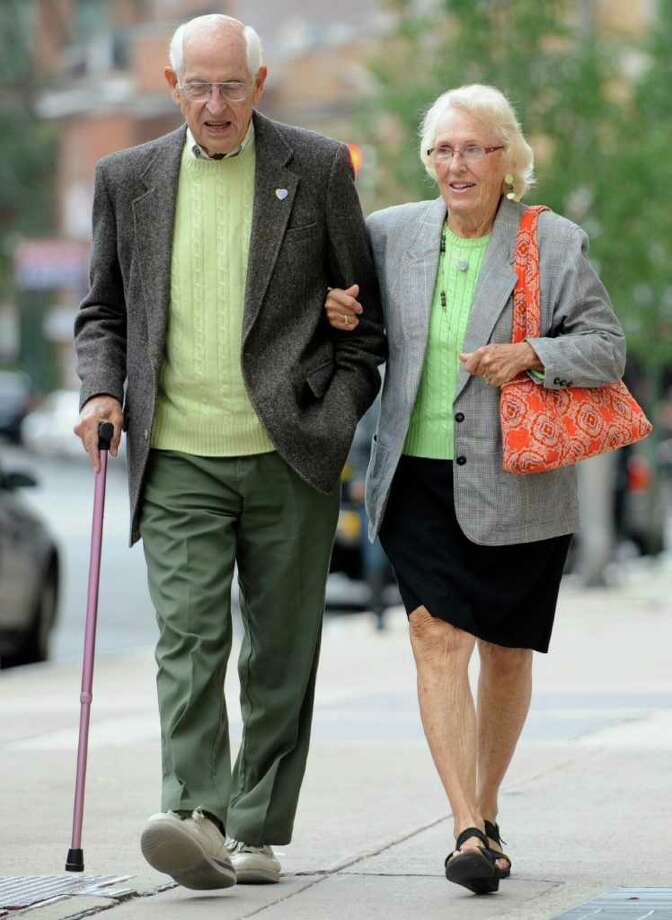Richard Hawke, left, and Marybelle Hawke, parents of Jennifer Hawke-Petit, arrive at Superior Court for jury deliberations in trial of Joshua Komisarjevsky in New Haven, Conn., Wednesday, Oct. 12, 2011.   Komisarjevsky is charged with killing of Jennifer Hawke-Petit and daughters, Hayley and Michaela in a 2007 home invasion.  (AP Photo/Jessica Hill) Photo: Jessica Hill, Associated Press / AP2011