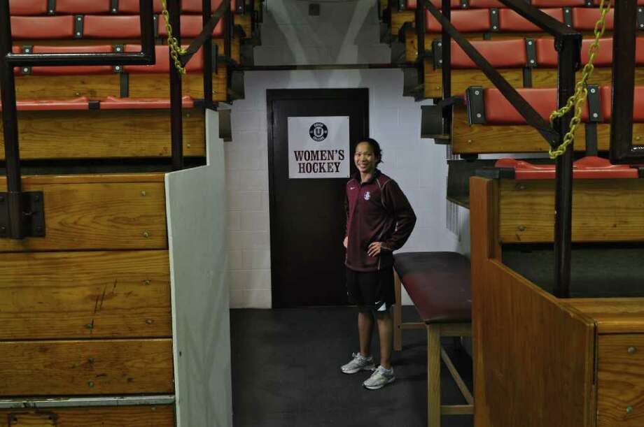 Union College women's hockey team assistant coach Julie Chu, a three time Olympic women's hockey player, at Messa Rink on Tuesday Oct. 11, 2011 in Schenectady, NY.  She was photographed for ESPN's recent The Body Issue. ( Philip Kamrass / Times Union) Photo: Philip Kamrass / 00014922A