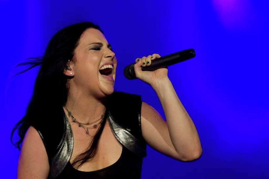 Amy Lee of American rock band Evanescence performs during the Rock in Rio music festival in Rio de Janeiro, Brazil, Sunday Oct.  2, 2011. Photo: AP