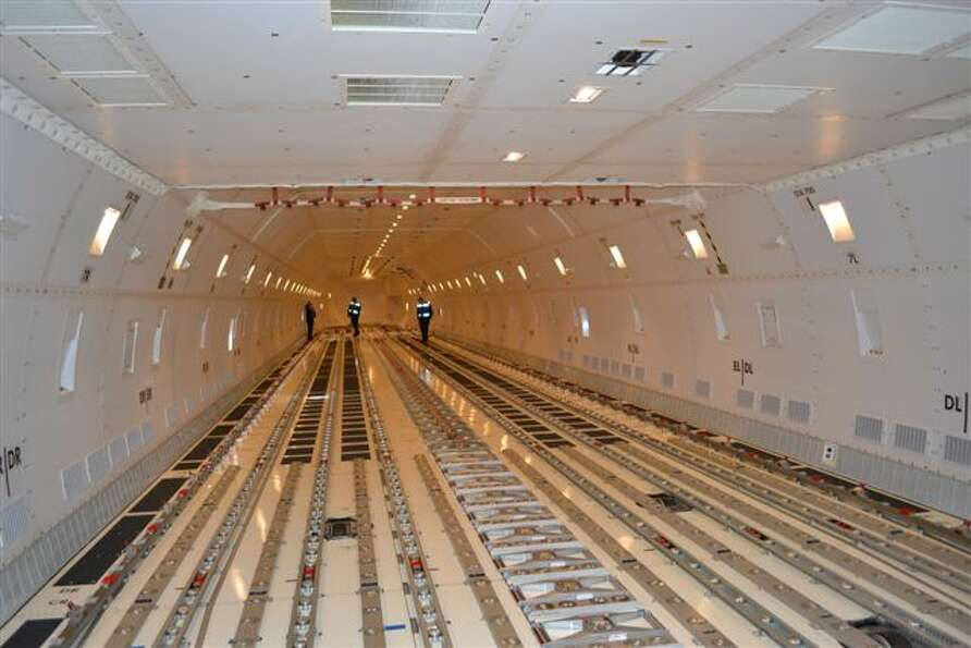 The hold of Cargolux's first Boeing 747-8 Freighter is seen before loading on Oct. 12, 2011, at Seat