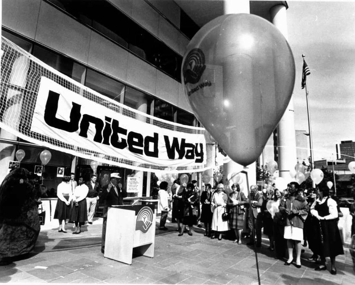 Oct. 16. 1986: One thousand balloons marked the beginning of the United Way's employee campaign at the Government Center. Don Russell is shown speaking.