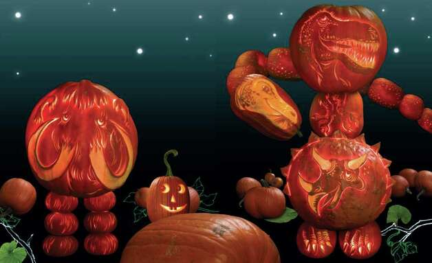 "A page from ""Night of the Pumpkinheads,"" by Michael J. Rosen, featuring photographs of actual pumpkins carved by Hugh McMahon  (Dial; 32 pages; $16.99; ages 4-up), Photo: Dial"