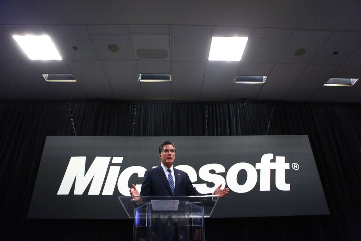 Presidential candidate Mitt Romney addresses Microsoft employees during a speech on Thursday, October 13, 2011 on the Microsoft campus in Redmond.