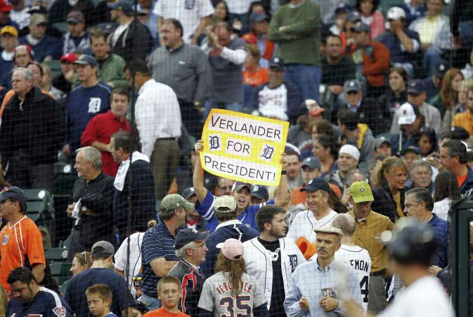 "A Detroit Tigers fan holds up a ""Verlander for President"" sign during Game 5 of ALCS. Photo: Julian H. Gonzalez, McClatchy-Tribune News Service / Detroit Free Press"