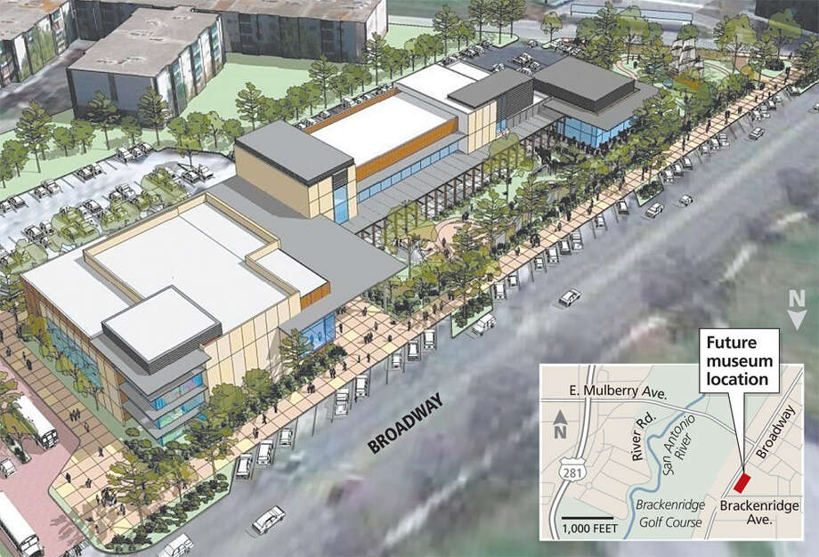 This conceptual drawing depicts what a new children's museum could look like along Broadway. The actual design will be based on a master plan for the building and exhibit space. Photo: Craig McMahon Architects / Express-News Map