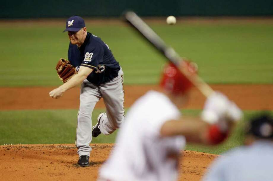 Randy Wolf of the Milwaukee Brewers throws a pitch against the St. Louis Cardinals. Photo: Pool / 2011 Getty Images