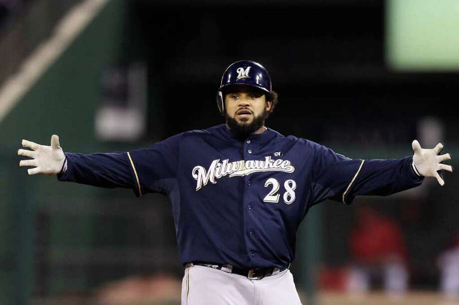 Prince Fielder of the Milwaukee Brewers gestures after he hit a double in the top of the fourth inning. Photo: Christian Petersen / 2011 Getty Images