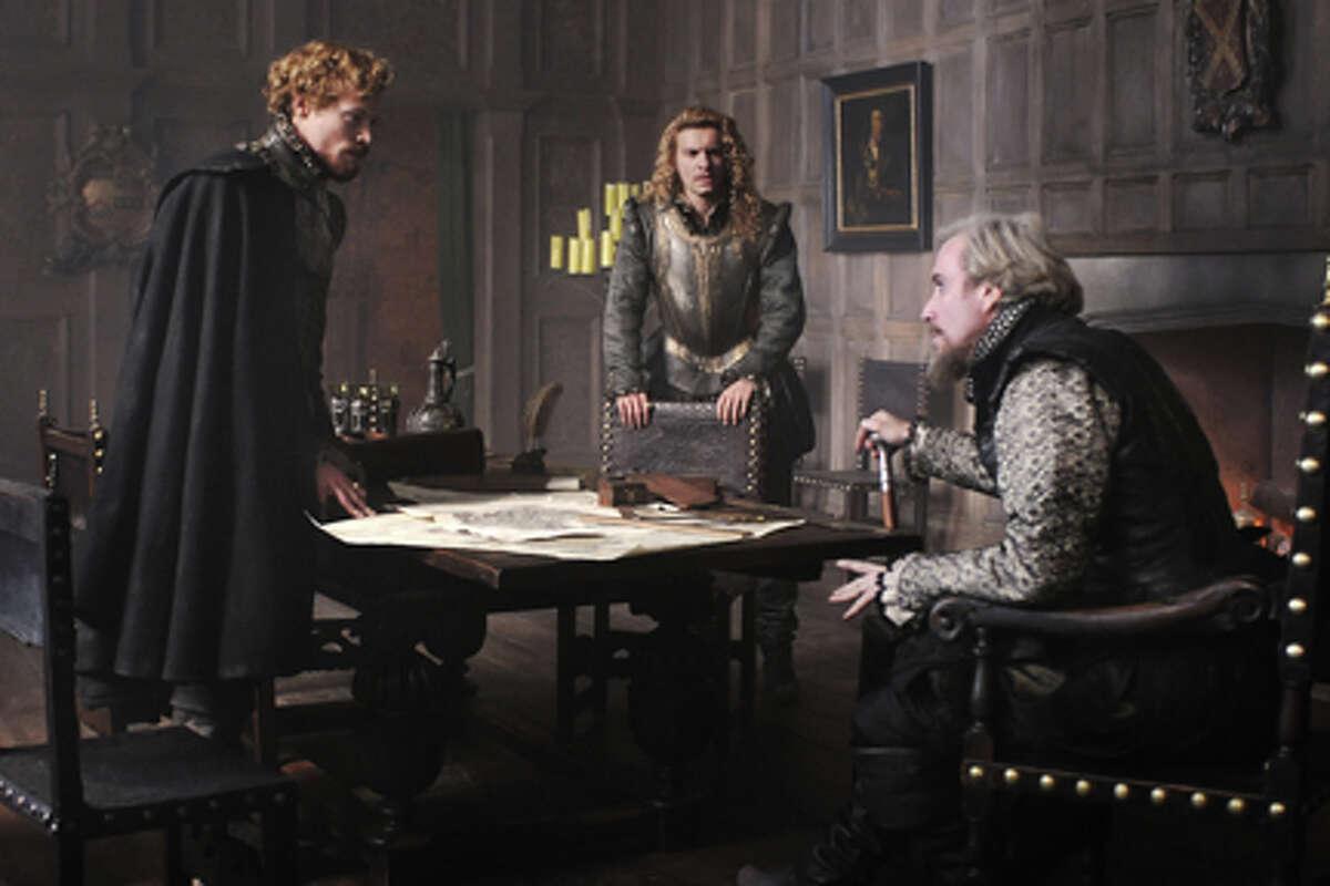 (L-R) Sam Reid as Earl of Essex, Xavier Samuel as Earl of Southampton and Rhys Ifans as Earl of Oxford in