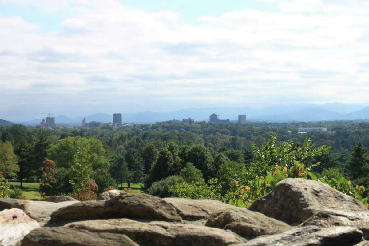 View toward Asheville and Blue Ridge Mountains from Grove Park Inn in Asheville, N.C.