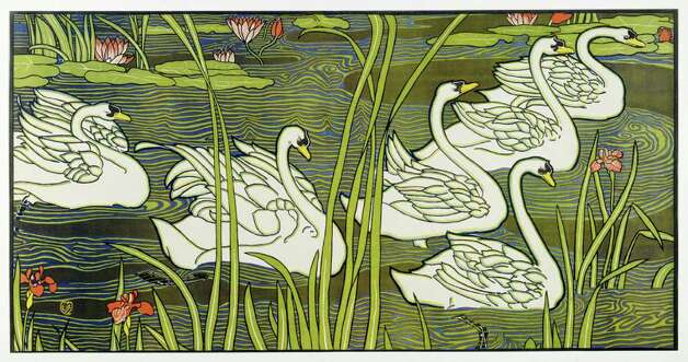 "English artist Louis Rhead's color lithograph ""Swans"" is featured in ""The Orient Expressed: Japan's Influence on Western Art 1854-1918"" at the McNay Art Museum Oct. 5 - Jan. 15. Photo: Courtesy McNay Art Museum"