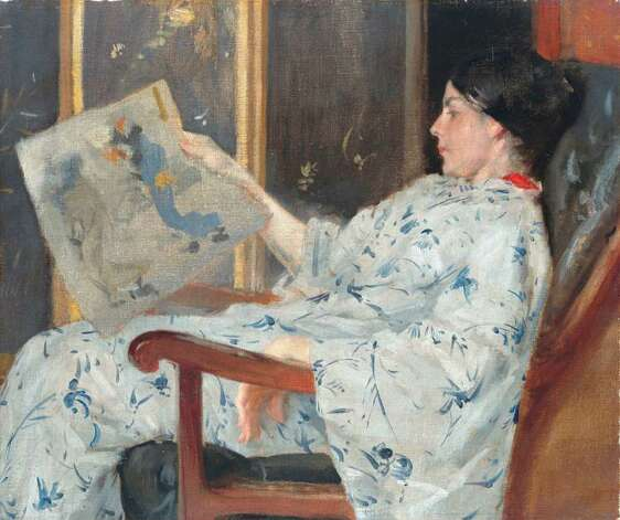 "American artist William Merritt Chase's oil on canvas ""The Japanese Woodblock Print,"" circa 1888, is featured in ""The Orient Expressed"" at the McNay. Photo: Courtesy McNay Art Museum"