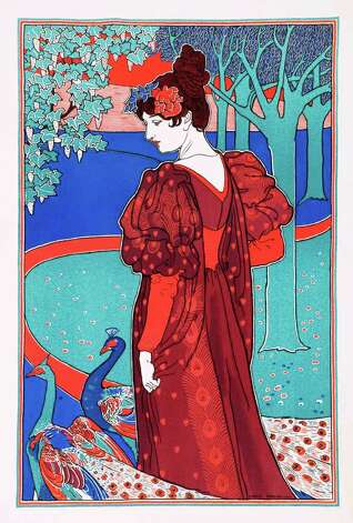 "English artist Louis Rhead's lithograph ""Woman with Peacocks"" is featured in ""The Orient Expressed: Japan's Influence on Western Art, 1854-1918"" at the McNay Art Museum. Photo: Courtesy McNay Art Museum"