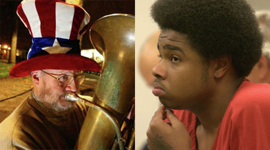 """Tuba Man"" Edward McMichael, left, and Billy Chambers, pictured in October 2011."