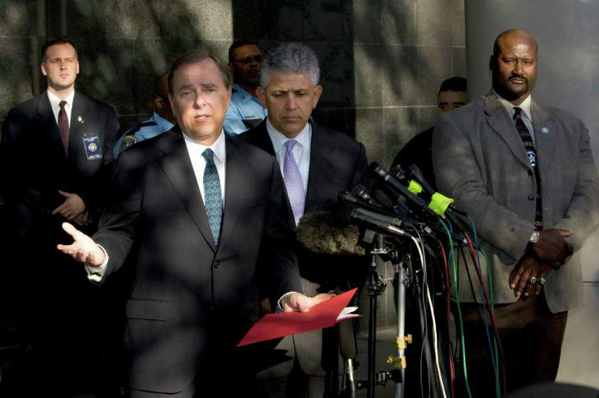 BRETT COOMER : HOUSTON CHRONICLE JAIL TIME: Former Enron CEO Jeff Skilling answers questions after his conviction on fraud and conspiracy charges in 2006. After five years, his final sentence is still to be determined.