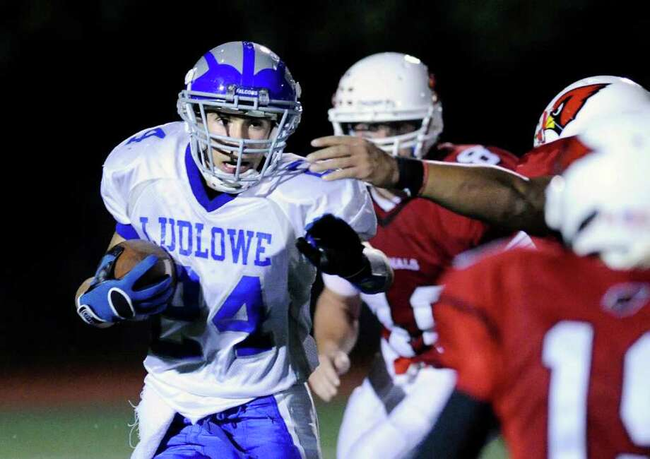 Dan Silvestri, # 24 of Fairfield Ludlowe High School returns a kick during football game between Greenwich High School and Fairfield Ludlowe High School at Greenwich, Friday night, Oct. 14, 2011. Photo: Bob Luckey / Greenwich Time