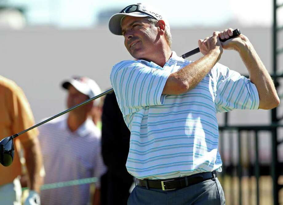 Fred Couples swings loosely on his drive at the first hole during the AT&T Championship at TPC San Antonio AT&T Canyons Course on October 12, 2011.  Tom Reel/Staff Photo: TOM REEL, Express-News / © 2011 San Antonio Express-News