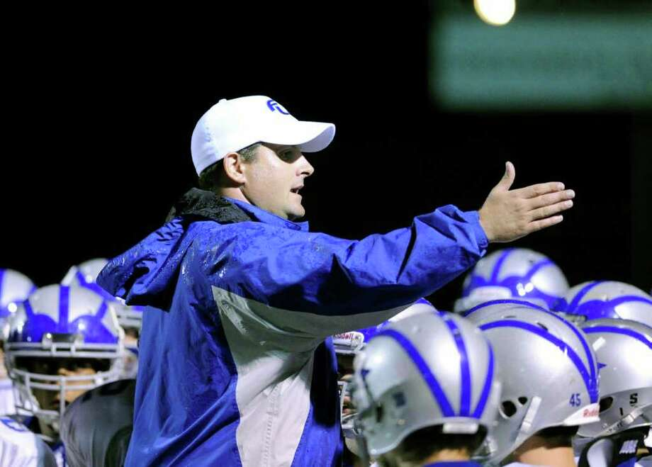 Fairfield Ludllowe High School head football coach Matt McCloskey during game between Greenwich High School and Fairfield Ludlowe High School at Greenwich, Friday night, Oct. 14, 2011. Photo: Bob Luckey / Greenwich Time