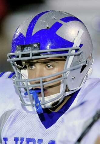 Jack Bradley, # 5, of Fairfield Ludlowe High School during Hhgh school football game between Greenwich High School and Fairfield Ludlowe High School at Greenwich, Friday night, Oct. 14, 2011. Photo: Bob Luckey / Greenwich Time