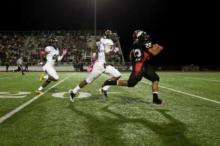 Westfield wide receiver Kaylon Jackson (22) makes a 75-yard reception and run against Klein Oak in another District 13-5A battle Friday night October 14, 2011 at Leonard George Stadium in Spring, TX. Klein Oak, which started 0-2 this season is now undefeated in district after beating three ranked teams. 