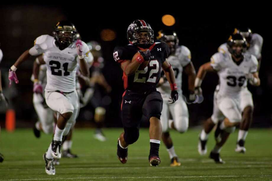 Westfield wide receiver Kaylon Jackson (22) makes a 75-yard reception and run against Klein Oak in another District 13-5A battle Friday night October 14, 2011 at Leonard George Stadium in Spring, TX. Klein Oak, which started 0-2 this season is now undefeated in district after beating three ranked teams.   Nathan Lindstrom/Special to the Chronicle  ©2010 Nathan Lindstrom Photo: Nathan Lindstrom, Freelance / ©2011 Nathan Lindstrom