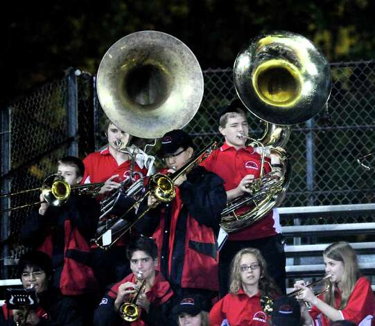 The Greenwich High School band entertains the fans during high school football game between Greenwich High School and Fairfield Ludlowe High School at Greenwich, Friday night, Oct. 14, 2011. Photo: Bob Luckey / Greenwich Time