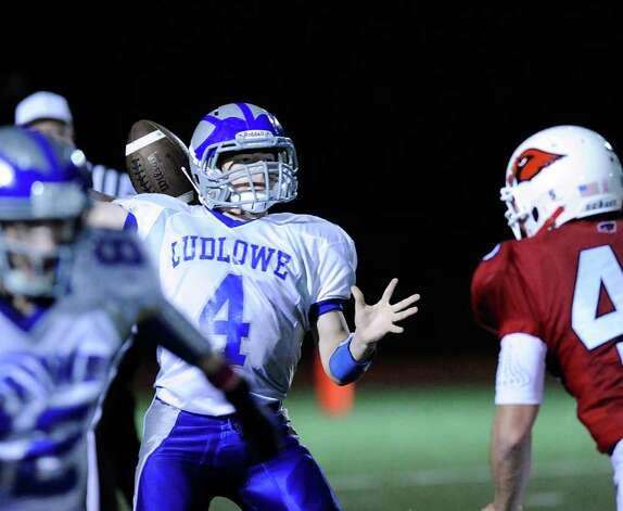 QB Matt White, # 4 of Fairfield Ludlowe High School during football game between Greenwich High School and Fairfield Ludlowe High School at Greenwich, Friday night, Oct. 14, 2011. Photo: Bob Luckey / Greenwich Time