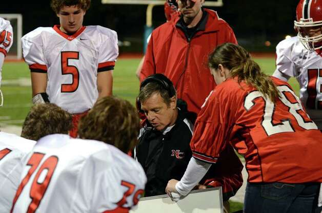 New Canaan's head football coach Lou Marinelli during the football game against Norwalk at Norwalk High School on Friday, Oct. 14, 2011. Photo: Amy Mortensen / Connecticut Post Freelance