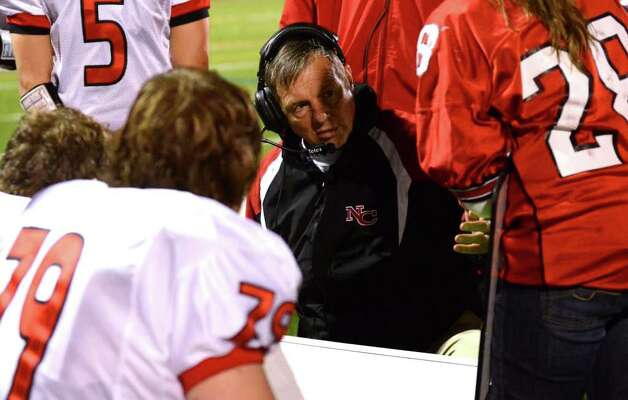 New Canaan head football coach Lou Marinelli during the football game against Norwalk at Norwalk High School on Friday, Oct. 14, 2011. Photo: Amy Mortensen / Connecticut Post Freelance