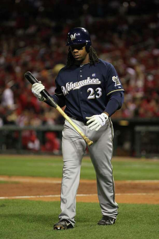 ST LOUIS, MO - OCTOBER 14:  Rickie Weeks #23 of the Milwaukee Brewers walks back to the dugout after he struck out in the top of the sixth inning against the St. Louis Cardinals during Game Five of the National League Championship Series at Busch Stadium on October 14, 2011 in St Louis, Missouri. Photo: Jamie Squire, Getty / 2011 Getty Images
