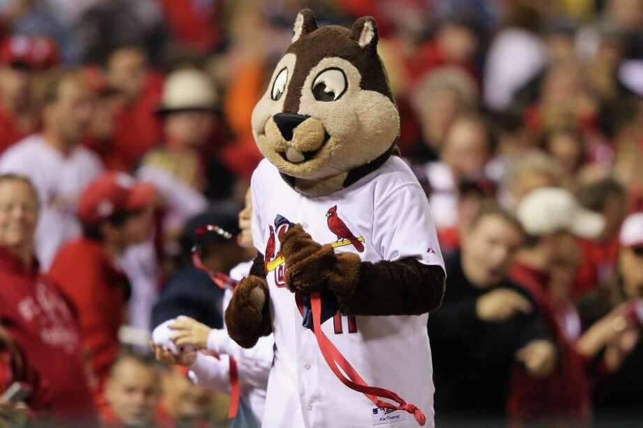 ST LOUIS, MO - OCTOBER 14:  The St. Louis Cardinals Rally Squirrel runs around the stadium against the Milwaukee Brewers during Game Five of the National League Championship Series at Busch Stadium on October 14, 2011 in St Louis, Missouri. Photo: Jamie Squire, Getty / 2011 Getty Images