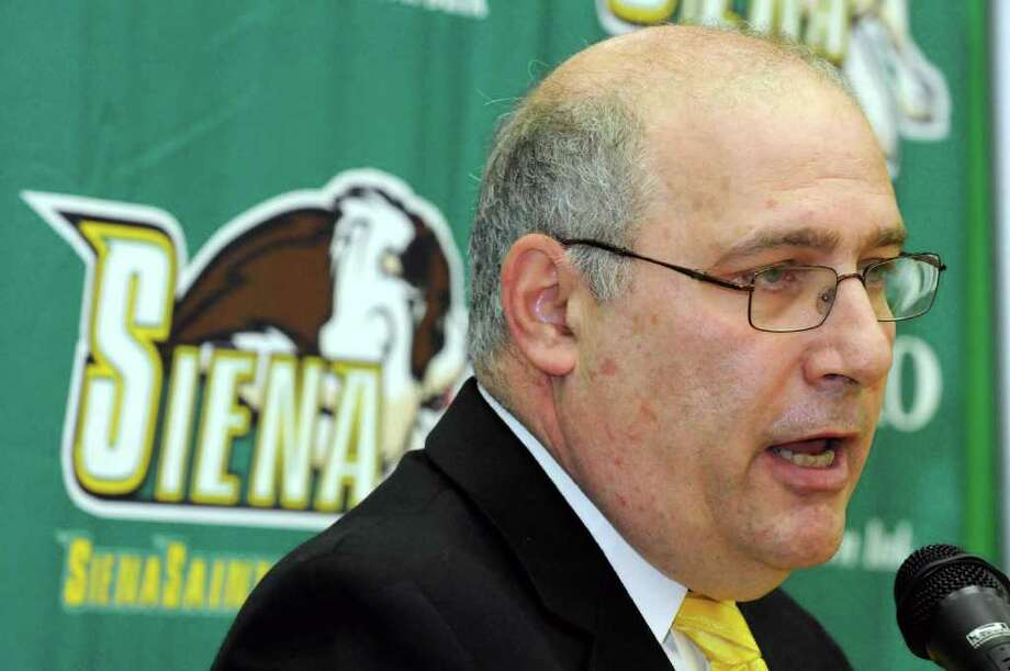 Siena head coach Mitch Buonaguro talks about the upcoming season during the Siena men's basketball media day at the college in Loudonville, NY Friday Oct. 14, 2011.( Michael P. Farrell/Times Union) Photo: Michael P. Farrell