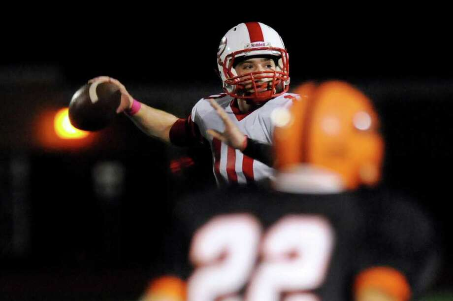 Guilderland's quarterback Timothy O'Connor looks to pass during their football game against Bethlehem on Friday, Oct. 14, 2011, at Shenendehowa High in Clifton Park, N.Y. (Cindy Schultz / Times Union) Photo: Cindy Schultz / 00014941A