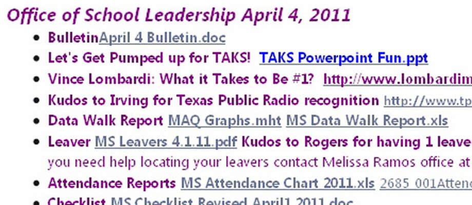 This is a screenshot of the file, titled MS Leavers, posted on a site used by the district's middle school leadership team.