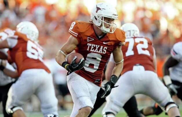Texas' Jaxon Shipley looks for running room against Oklahoma State during second half action Saturday Oct. 15, 2011at Texas Memorial Stadium in Austin, Tx. Oklahoma State won 38-26. Photo: EDWARD A. ORNELAS, Express-News / © SAN ANTONIO EXPRESS-NEWS (NFS)