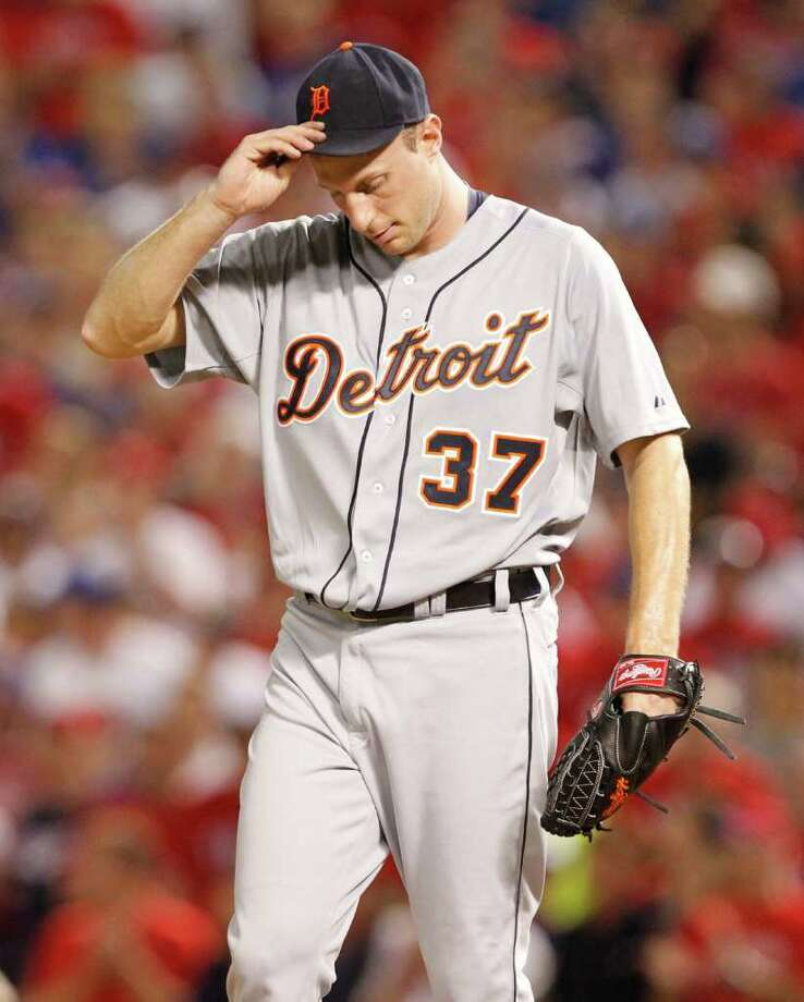 Detroit Tigers starting pitcher Max Scherzer (37) is seen in the third inning action against the Texas Rangers during Game 6 of the American League Championship Series against the Detroit Tigers in Arlington, Texas, Saturday, October 15, 2011. (Ron T. Ennis/Fort Worth Star-Telegram/MCT) Photo: Ron T. Ennis, McClatchy-Tribune News Service / Fort Worth Star-Telegram