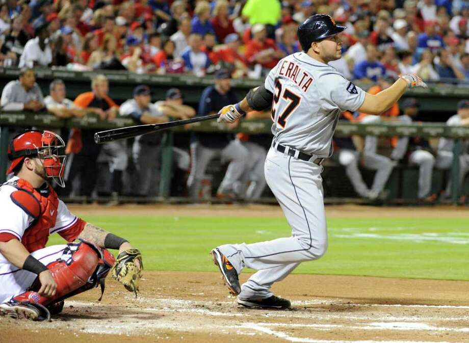 Detroit Tigers shortstop Jhonny Peralta (27) hits a solo home run in the second inning against the Texas Rangers during Game 6 of the American League Championship Series in Arlington, Texas, Saturday, October 15, 2011. (Max Faulkner/Fort Worth Star-Telegram/MCT) Photo: Max Faulkner, McClatchy-Tribune News Service / Fort Worth Star-Telegram