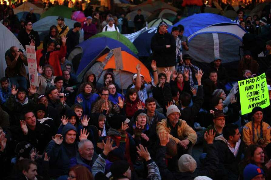 Occupy Seattle protesters hold their 'general assembly' in Westlake Park.