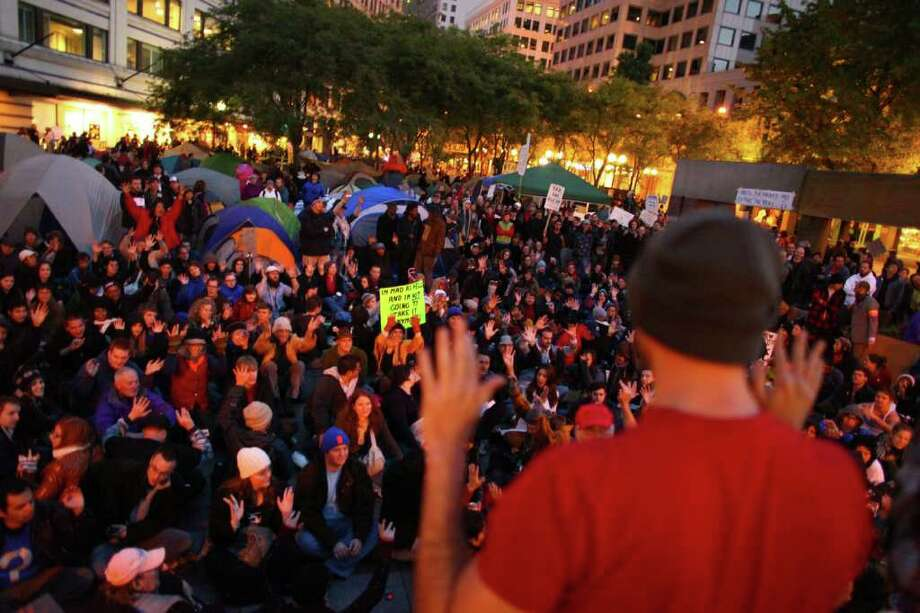 Occupy Seattle protesters hold their 'general assembly' in Westlake Park. Photo: JOSHUA TRUJILLO / SEATTLEPI.COM
