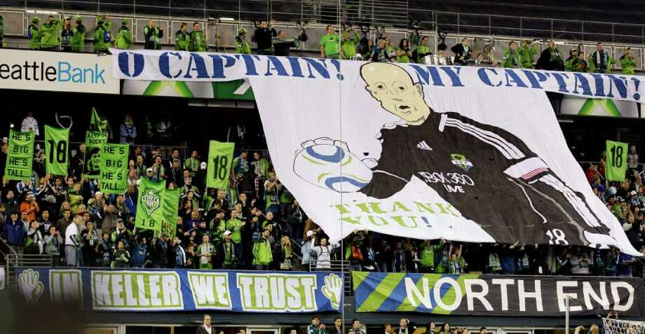 Fans show support for Seattle Sounders FC goalkeeper Kasey Keller prior to a MLS soccer match against the San Jose Earthquakes, Saturday, Oct. 15, 2011, in Seattle. The game is Keller's final regular season home game before retirement. Photo: AP