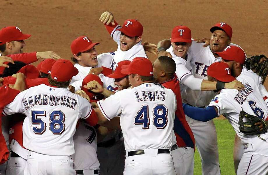 Game 6: Rangers 15, Tigers 5 (Rangers win series 4-2) - The Rangers had plenty to celebrate after beating the Tigers on Saturday night to return to the World Series. They'll face the winner of the National League Championship Series between the Cardinals and Brewers. Photo: Ronald Martinez / 2011 Getty Images