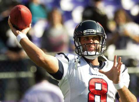 Houston Texans quarterback Matt Schaub (8) throws a pass while warming up before an NFL football game against the Baltimore Ravens at M&T Bank Stadium Sunday, Oct. 16, 2011, in Baltimore. Photo: Brett Coomer, Houston Chronicle / © 2011  Houston Chronicle