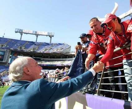 Houston Texans owner Bob McNair, left, greets a group of Texans fans before an NFL football game against the Baltimore Ravens at M&T Bank Stadium Sunday, Oct. 16, 2011, in Baltimore. Photo: Brett Coomer, Houston Chronicle / © 2011  Houston Chronicle