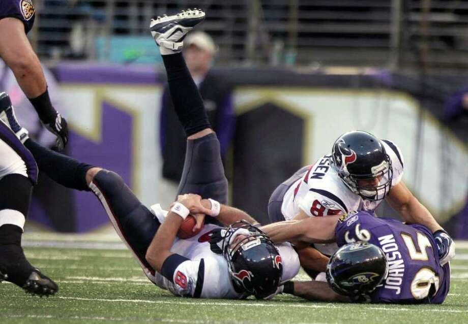 Houston Texans quarterback Matt Schaub (8) is sacked by Baltimore Ravens outside linebacker Jarret Johnson (95) during the third quarter of an NFL football game at M&T Bank Stadium Sunday, Oct. 16, 2011, in Baltimore. The Ravens beat the Texans 29-14. Photo: Brett Coomer, Houston Chronicle / © 2011  Houston Chronicle