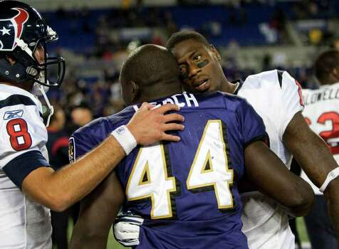 Houston Texans quarterback Matt Schaub (8) and Houston Texans wide receiver Jacoby Jones, right, embrace Baltimore Ravens fullback and former teammate Vonta Leach (44) during the fourth quarter of an NFL football game at M&T Bank Stadium Sunday, Oct. 16, 2011, in Baltimore. The Ravens beat the Texans 29-14. Photo: Brett Coomer, Houston Chronicle / © 2011  Houston Chronicle