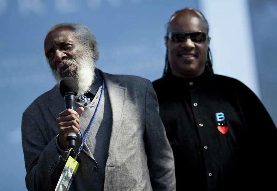 Legendary comedian and activist Dick Gregory (left) makes a rare appearance at the Improv March 28-29. (No Stevie Wonder, though.) Photo: Brendan Smialowski, Getty / 2011 Getty Images