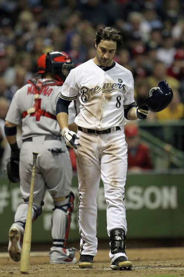 MILWAUKEE, WI - OCTOBER 16:  Ryan Braun #8 of the Milwaukee Brewers reacts after he struck out to end the bottom of the seventh inning against the St. Louis Cardinals during Game Six of the National League Championship Series at Miller Park on October 16, 2011 in Milwaukee, Wisconsin. Photo: Jonathan Daniel, Getty / 2011 Getty Images